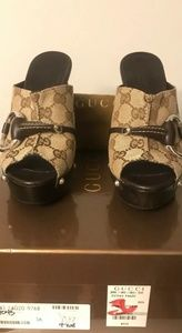 Gucci Beige Monogram Icon Bit High Heel Clogs